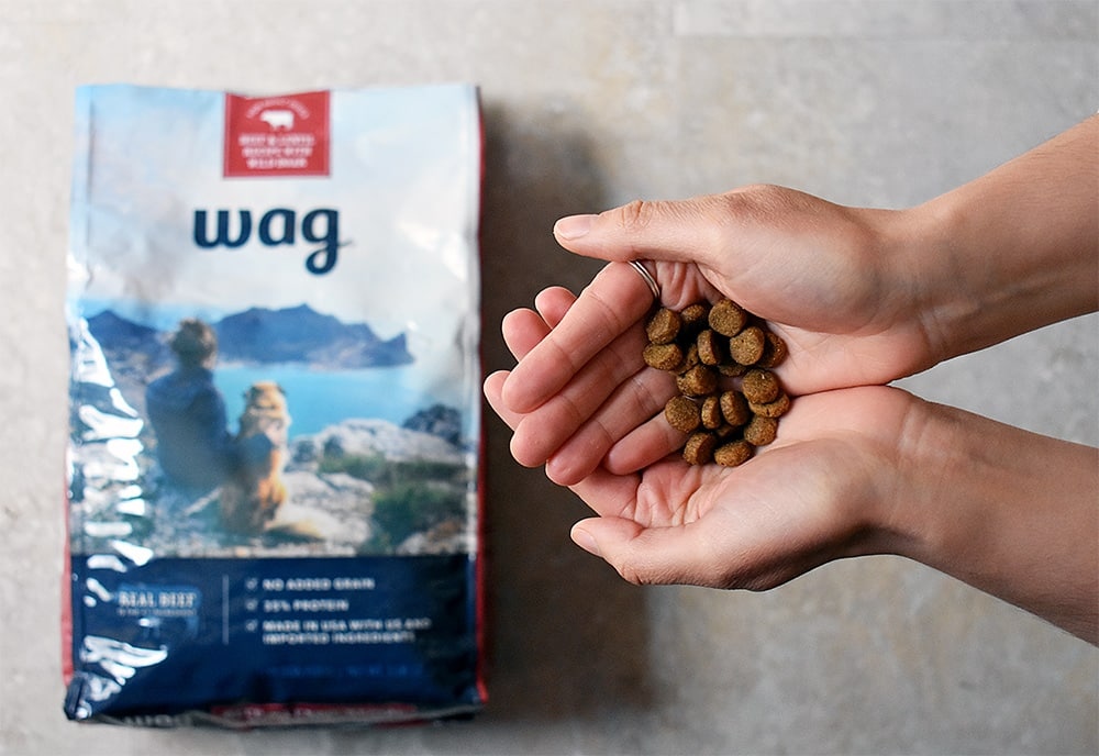 Opening our first bag of Wag dog food