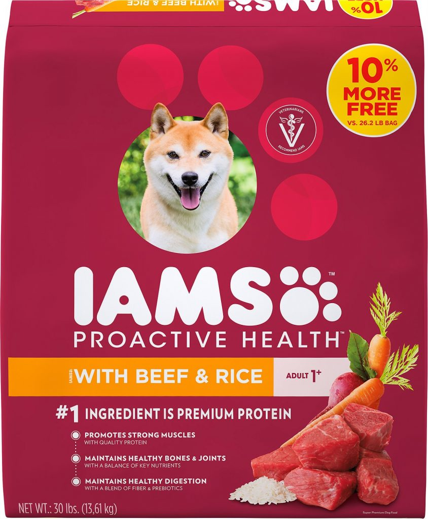 iams with beef and rice dog food