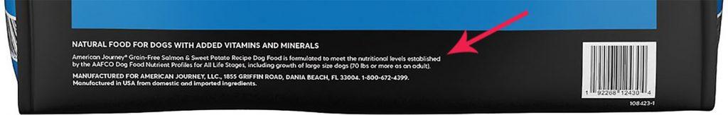 nutritional adequacy statement on dog food