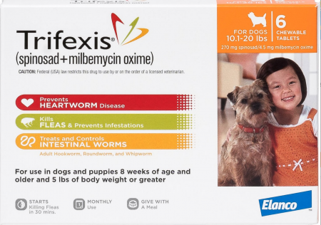 Trifexis Chewable Tablets for Dogs, 10.1-20 lbs, 6 treatments (Orange Box)