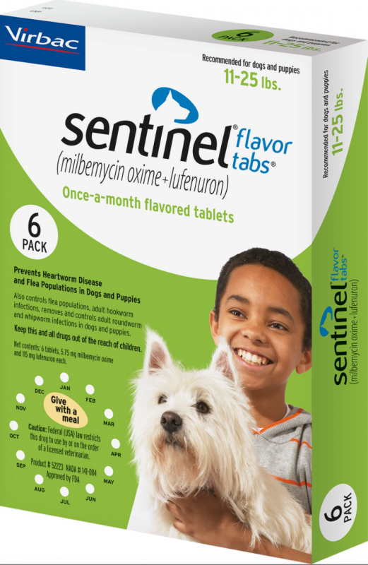 Sentinel Flavor Tablets for Dogs, 11-25 lbs, 6 treatments (Green Box)
