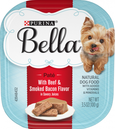 Purina Bella with Beef & Smoked Bacon in Savory Juices Small Breed Wet Dog Food Trays