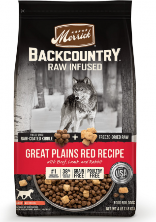 Merrick Backcountry Freeze-Dried Grain-Free Raw Dry Dog Food Recipe with Great Plains Red Beef, Lamb & Rabbit